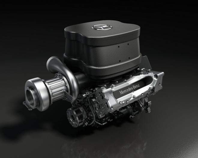 Zvok Mercedesovega V6 turbo motorja