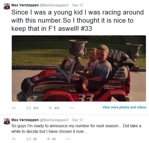 Max Verstappen številka 33 Twitter