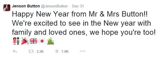 Jenson Button Novo leto Twitter