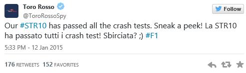 Toro Rosso Twitter crash test