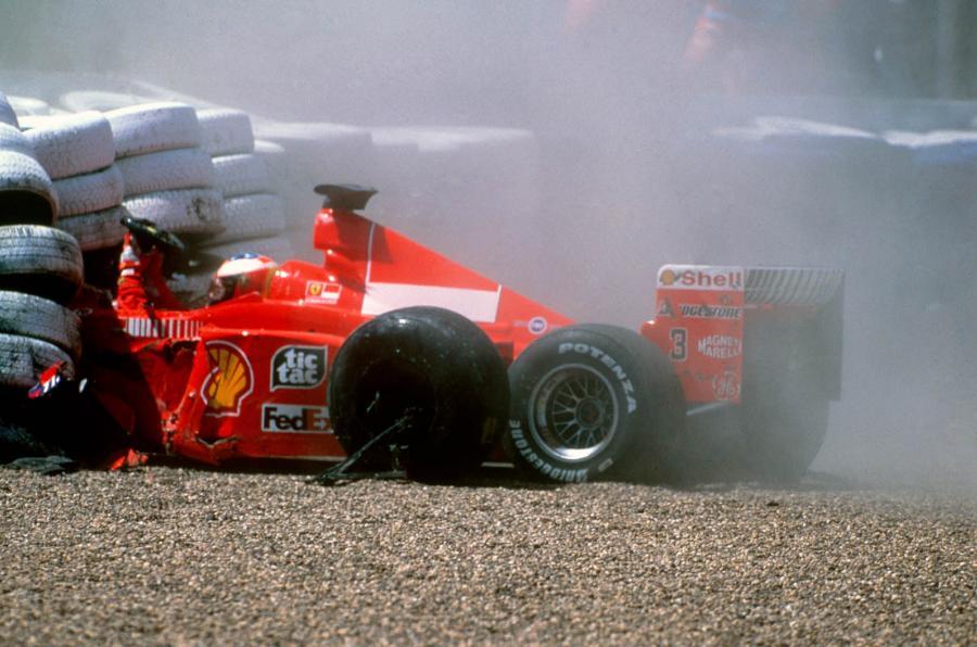 Huda nesreča Schumacherja v prvem krogu