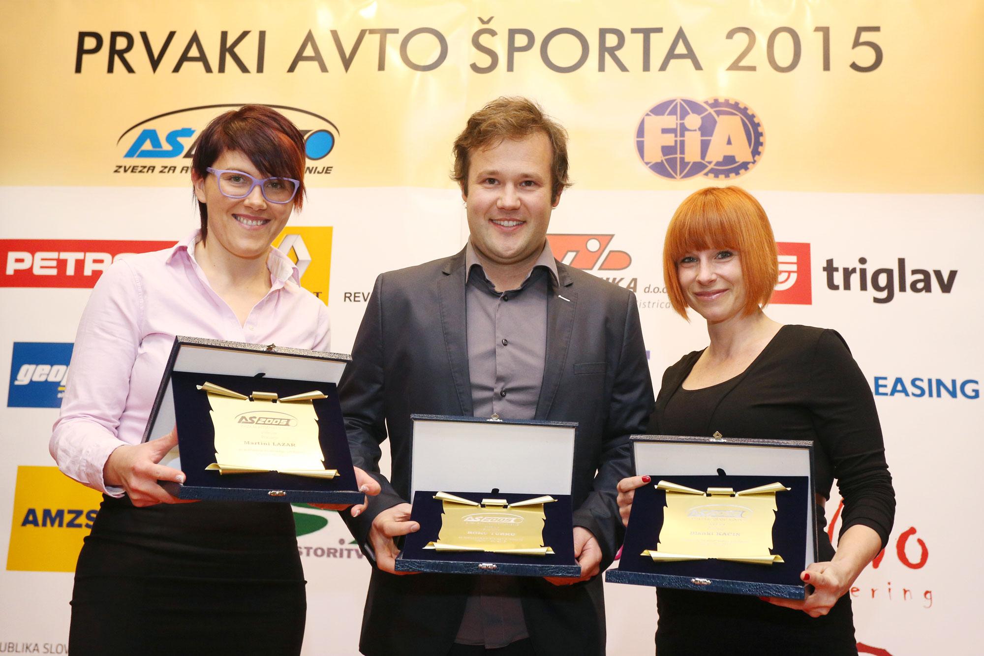 Priznanja za Roka Turka, Blanko Kacin in Martino Lazar za zastopanje slovenskega avtošporta v tujini