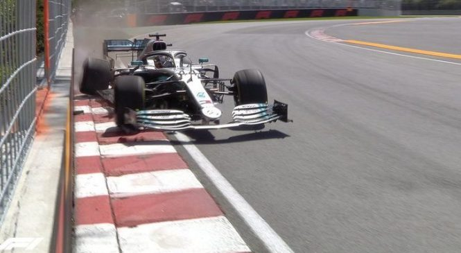Hamilton na drugem treningu oplazil zid in prevzel krivdo