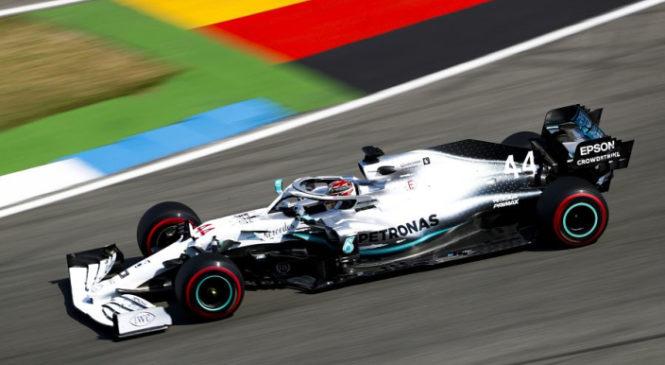 Hamilton s prvega mesta na Hockenheimu, težave Ferrarija