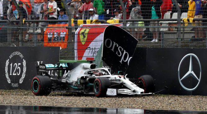 VIDEO: Hamilton je v Nemčiji želel predčasno končati dirko