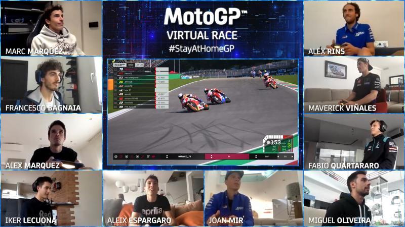 Alex Marquez zmagoal na prvi virtualni dirki razreda MotoGP stayathomegp emotogp