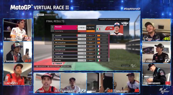 Virtualni dirki se pridružujeta razreda Moto 2 in Moto 3