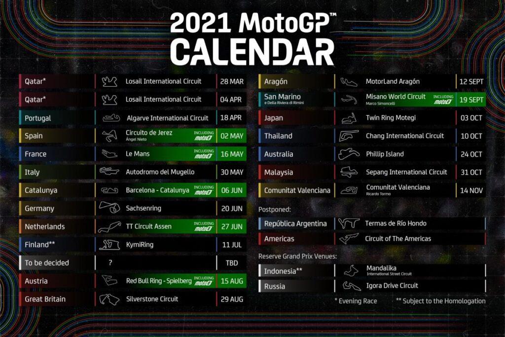 Koledar dirk MotoGP 2021 je doživel nekaj sprememb.
