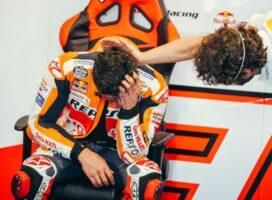 Marquez zadnjih 6 krogov le sedel na motorju