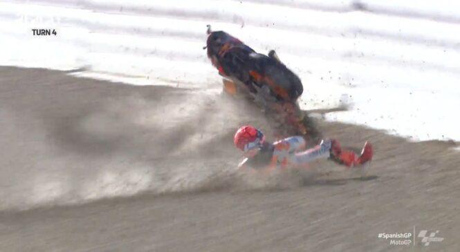 Še en nevaren padec Marqueza na ogrevanjih