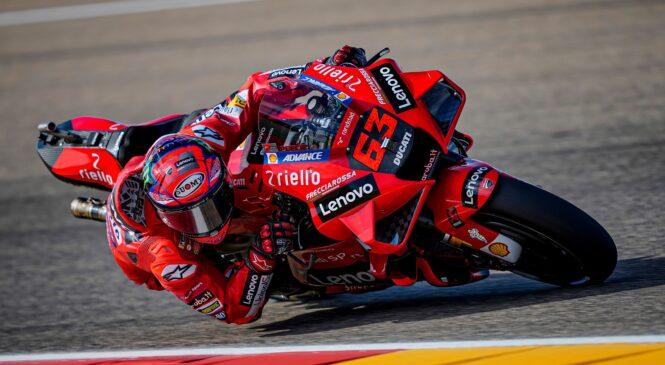 MotoGP, Aragonija: Bagnaia najhitrejši tudi na ogrevanjih